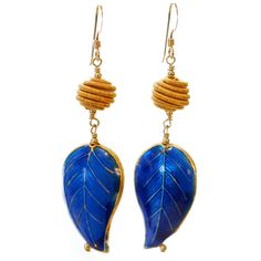 Gabby Earrings- Blue ceramic and gold feathers..