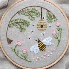 Pretty bee embroidery                                                                                                                                                                                 More