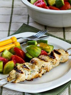 Chicken Souvlaki plus a tomato and cucumber salad is a perfect summer meal! And this tasty chicken on a skewer is low-carb, Keto, low-glycemic, gluten-free, dairy-free, Paleo, Whole 30, and South Beach Diet friendly! Use the Recipes-by-Diet-Type Index to find more recipes like this one. Click here to PIN Low-Carb Chicken Souvlaki! Souvlaki is a dish that's…