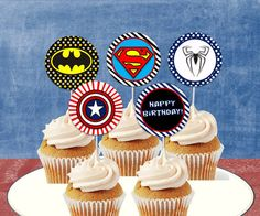 INSTANT DOWNLOAD Superhero Cupcake Toppers, Favor Tags, or Decor, printable DIY, Superman, Spiderman, Batman,  Avenger Birthday Party. $2.95, via Etsy. Superman Birthday, Avengers Birthday, Superhero Birthday Party, Boy Birthday, 5th Birthday Party Ideas, Birthday Parties, Pastel Avengers, Iron Man Party, Superhero Cupcake Toppers