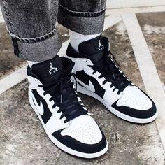 Shop Air Jordan 1 Retro Mid 'Tuxedo' - Air Jordan on GOAT. We guarantee authenticity on every sneaker purchase or your money back. Sneakers Looks, Sneakers Mode, Sneakers Fashion, Jordans Sneakers, Air Jordan Retro, Nike Air Shoes, Nike Air Jordans, Zapatillas Nike Jordan, Logo Nike