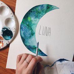 Moon, Moon Painting, Boho Decor, Galaxy Painting, Nursery Decor, Baby, Watercolor Moon, Moon Art, Festival, Bedroom Decor, Galaxy Painting