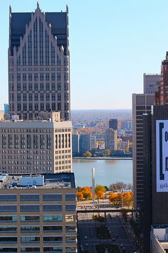Downtown Detroit.Great view of Canada across the river.