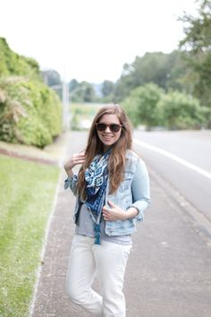 Weekend Casual Outfit with ZebraClub featuring white boyfriend jeans, denim jacket, and blue printed scarf {hellorigby seattle fashion blog}