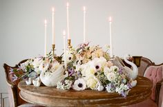 romantic ballet-inspired tablescape, with swan decor