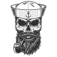 Buy Monochrome Vintage Skull by imogi on GraphicRiver. Monochrome vintage skull in sailor hat. Navy Tattoos, Sailor Tattoos, Desenhos Old School, Tattoo Caveira, Monochrome, Skull Sketch, Smoke Cloud, Totenkopf Tattoos, Skull Illustration