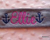 ANCHOR personalized stretch COTTON headband NAME monogram girls