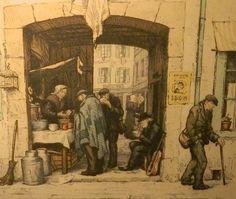 """Soup Kitchen, Paris"" 1927 by Tavik František Šimon (Czech 1877-1942)....coloured etching"