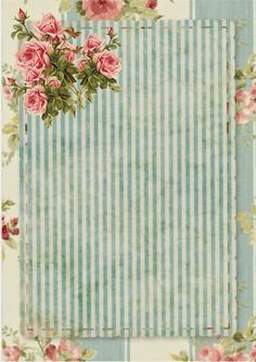 glenda's World : Card Templates by Glenda vintage blue stripe with roses