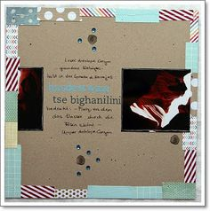 "Layout by Yvonne Ecker — made with cardstock kraft & alphabet stickers ""Eva"" 