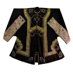 Antique Chinese Robe Black Gauze Pink Silk Brocade with Butterflies and Flowers