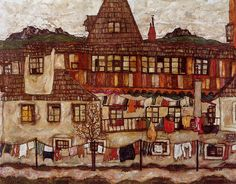 Egon Schiele - 1917 House with Drying Laundry  oil on canvas