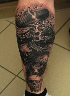 What does mexican tattoo mean? We have mexican tattoo ideas, designs, symbolism and we explain the meaning behind the tattoo. Cowboy Tattoos, Skull Tattoos, Body Art Tattoos, Sleeve Tattoos, Tattoo Art, Face Tattoos, Best Leg Tattoos, Best Tattoo Ever, Leg Tattoo Men