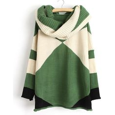 Trendy Style Scoop Collar Long Sleeve Color Block with Scarf Women s... ($24) ❤ liked on Polyvore featuring tops, sweaters, green, jumpers, long sleeve sweater, green sweater, block sweater, green top and block top