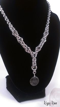 Caged Labradorite Byzantine Chainmaille Necklace by GypsyGrove