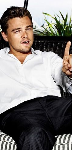 """Leonardo Di Caprio in """"The Wolf of Wall Street"""" I like the stripes/plant for outdoor ideas"""