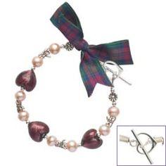 Jewel Heart Bracelet by Tartan Twist Lindsay Clan Shop - Scottish Clans Tartans Kilts Crests and Gifts