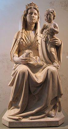 Jacopo della Quercia - Madonna della melagrana (Madonna Silvestri), 1403-1408, museo della Cattedrale di Ferrara