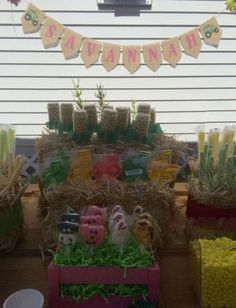 John Deere themed candy buffet.  See more John Deere birthday party ideas at www.one-stop-party-ideas.com