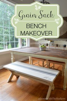 Grain Sack Bench Makeover-DecoArt-Americana Decor-Chalky Finish Paint #chalkyfinish #decoartprojects