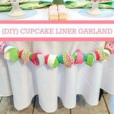 DIY Cupcake Liner Garland - perfect decoration for a baking party and a great way to use up random cupcake cases. Cupcake Wars, Cupcake Liners, Diy Cupcake, Cupcake Garland, Cupcake Party Decorations, Cupcake Decorating Party, Girl Birthday, Birthday Parties, Birthday Ideas