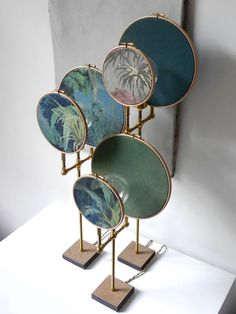 For Sale on - Ensemble of three table lamps, Sander Bottinga Handmade in brass, leather, wood, hand printed and painted linen. A dimmer is inlaid with leather Dimensions: Deco Design, Lamp Design, Interior Lighting, Lighting Design, Grey Table Lamps, Art Deco Lamps, Messing, Resin Art, Blue Grey