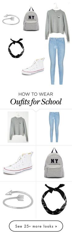 """Grey school look"" by dianareyes667 on Polyvore featuring Converse, 7 For All Mankind, Joshua's, women's clothing, women's fashion, women, female, woman, misses and juniors (Beauty Women Black)"