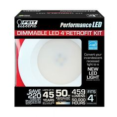"""Feit LEDR4/3K 50w Replacement Dimmable 4 Inch 3000K LED Retrofit Kit - These Feit energy efficient Performance LED Retrofit kits are Energy Star Approved and are compatible with most 4""""recessed cans. They are easy to install, dimmable and last up to 50,000 hours. Each kit comes with a standard base adapter and a pre-mounted trim. www.bulkhydro.com"""