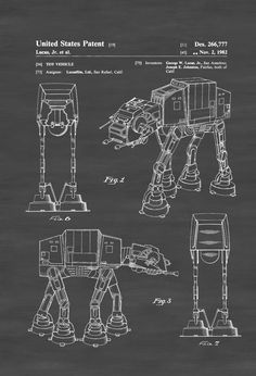 A patent print poster of a Star Wars  AT-AT Imperial Walker invented by Geroge W. Lucas.  The patent was issued by the United States Patent Office on June 22, 1982.Patent prints allow you to have a piece of history in your Home, Office, Man Cave, Geek Den or anywhere you wish to add ...