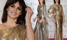 Penelope Cruz channels Seventies chic in a metallic gown at the BAFTAs