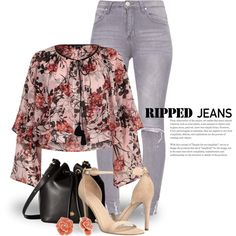 Ripped Jeans 3664 by boxthoughts on Polyvore featuring moda, River Island, GUESS, Brahmin and Gloria Vanderbilt