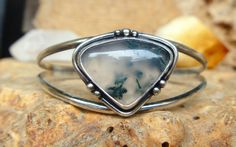Moss Agate Sterling silver cuff bracelet // Sm/Med // Handmade // Oxidized // Agate Jewlery // silver jewelry