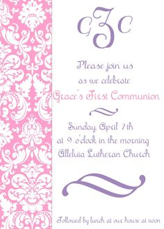 First communion invitation printable by TheLaughingLadybug on Etsy, $15.00