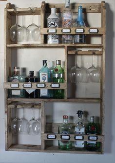 Gin rack, 12 bottles & 6 goblet glass's – do pallet Wine Glass Shelf, Glass Shelves Kitchen, Bar Shelves, Wine Glass Rack, Wine Glass Storage, Crate Shelves, Glass Bottle, Bottle Display, Bottle Rack