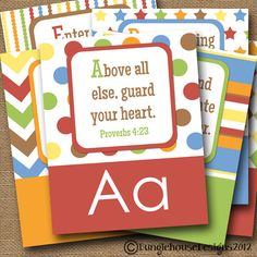ABC Scriptures for Kids Children's Alphabet by bunglehousedesigns...I grew up with ABC verses but I really like the verse choices here better.