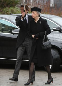 Respects: A sombre-lookingPrincess Benedikte of Denmark arrives at the funeral service for her husband, Prince Richard - full name Richard of Sayn-Wittgenstein-Berleburg - who died on March 13th aged 82