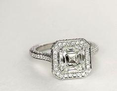 Blue Nile Studio Asscher Cut Royal Halo Diamond Engagement Ring