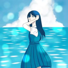 潮騒 #illustration #illust #girl #sea #blue #summer #drawing #painting #ibispaint #myartworks #イラストレーション #イラスト #少女 #制服 #海 #絵 Artworks, Drawing, Illustration, Painting, Colors, Art Pieces, Illustrations, Painting Art, Draw