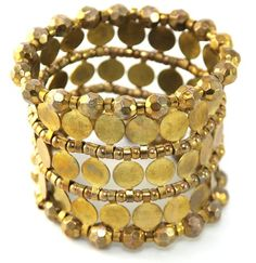 """Antique Gold Coin and Beaded Thick Chunky Stretch Bracelet """"Bella"""""""