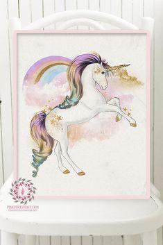 Rainbow Unicorn Wall Art Print Baby Girl Nursery Boho Fantasy Poster Kids Room Printable Decor
