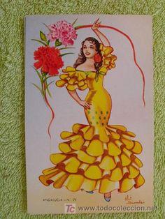 Postal Antigua - Old postcard : Andalucia 77 - Elsi Gumier Spanish Dancer, Spanish Art, Vintage Valentine Cards, Vintage Cards, Fashion Design Sketchbook, Disney Designs, Flamenco Dancers, Sewing Art, Old Postcards