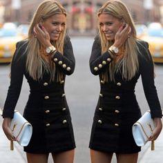 Fashion Rundhals Langarm Slim Fit Kleid mit Zweireiher-Knöpften - Fashion Kleider - Kleidung