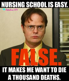 Nursing school is easy. FALSE. It makes me want to die a thousand deaths. Nursing school humor. Registered nurse funny. RN. Student Nurse. Dwight Schrute meme.