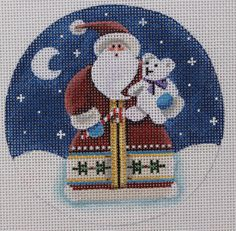 Rebecca Wood Designs Santa's Teddy Ornament Hand Painted Needlepoint Canvas | eBay