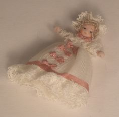 Victorian Christening Baby Doll by Ethel Hicks - $46.00 : Swan House Miniatures, Artisan Miniatures for Dollhouses and Roomboxes