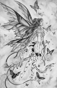 pretty elf fairy angel girl (V) Magical Creatures, Fantasy Creatures, Fantasy Kunst, Fantasy Art, Fairy Dust, Fairy Tales, Illustration Fantasy, Elfen Fantasy, Butterfly Fairy