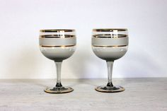 mid century cocktail wine glasses // frosted smokey ombre // gold and frosty stripes banded // mid century barware stemware bar ware