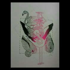 #Flamingo #screenprint #neon #pink version 2. #theletterb ##theletterbee