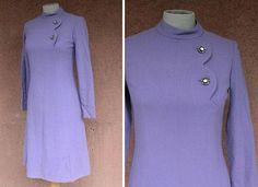 1960's Purple Wool Dress  60's Purple Asymetrical