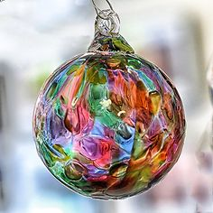 Would love to have a collection of these (from friends of course) - hint hint. Glass Christmas Tree Ornaments, Christmas Bulbs, Christopher Radko Ornaments, Glass Plate Flowers, Glass Floats, Hanging Crystals, Glass Pumpkins, Alcohol Ink Art, World Of Color
